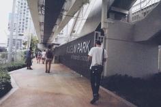 Touring under Museum Park Metromover station.
